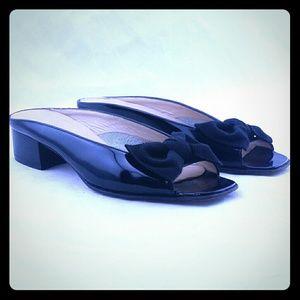Salvatore Ferragamo Vara Slide Sandals Black Bow